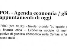 POL – Agenda Economia / Gli appuntamenti di oggi