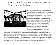 Tavola rotonda sulla finanza etica presso l'Univerità della Tuscia