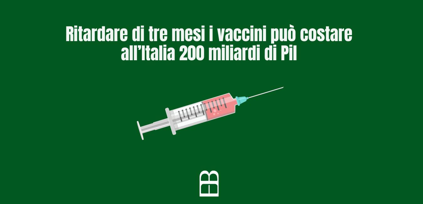 Ritardare di tre mesi i vaccini può costare all'Italia 200 miliardi di Pil